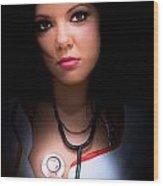 Love Struck Stethoscope Nurse Wood Print