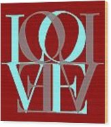 Love Typography Wood Print