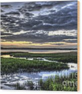 Cloud Reflections Over The Marsh Wood Print