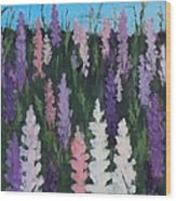 Lupines - Art By Bill Tomsa Wood Print