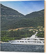 Luxury Yacht At The Coast Of French Riviera Wood Print by Elena Elisseeva