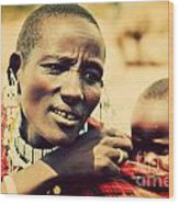 Maasai Baby Carried By His Mother In Tanzania Wood Print