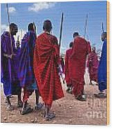 Maasai Men In Their Ritual Dance In Their Village In Tanzania Wood Print
