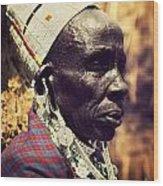 Maasai Old Woman Portrait In Tanzania Wood Print