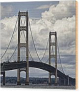 Mackinaw Bridge By The Straits Of Mackinac Wood Print