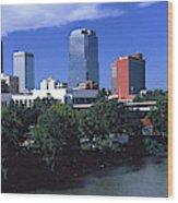 Main Street Bridge Across Arkansas Wood Print