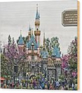 Main Street Sleeping Beauty Castle Disneyland 01 Wood Print