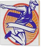 Male Marathon Runner Running Retro Woodcut Wood Print by Aloysius Patrimonio