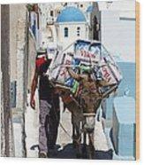 Man And His Pack Mule Wood Print