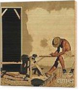 Man At Work Wood Print