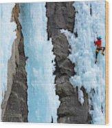 Man Ice Climbing In Ceresole Reale Ice Wood Print