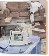 Man Ironing Shirt Wood Print