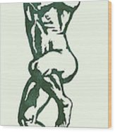 Man Nude Pop Stylised Etching Art Poster  Wood Print
