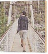 Man On Alexandra Suspension Bridge In Tasmania Wood Print