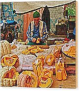 Man Peeling Squash In Antalya Street Market-turkey Wood Print
