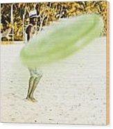 Man Playing Frisbee On Beach Wood Print