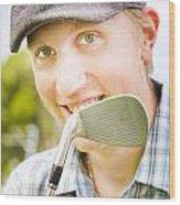 Man With Golf Club Wood Print