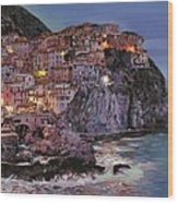 Manarola At Dusk Wood Print