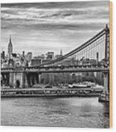 Manhattan Bridge Wood Print by John Farnan