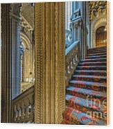 Mansion Stairway Wood Print