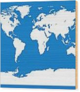 Map In Blue And White Wood Print