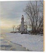 Marblehead Lighthouse Winter Sunrise Wood Print