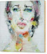 Maria Callas - Watercolor Portrait.2 Wood Print