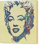 Marilyn Monroe Stylised Pop Art Drawing Sketch Poster Wood Print by Kim Wang