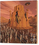 Martians Gathering Around A Monument Wood Print