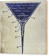 Martini Glass Patent Drawing Two Tone  Wood Print