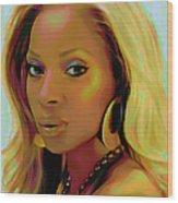 Mary J Blige Wood Print
