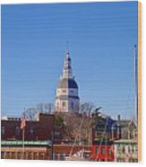 Maryland State House Dome Wood Print