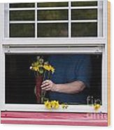 Mature Woman Cutting Flowers In Window Wood Print
