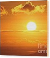 Maui Kulamalu Sunset  Wood Print