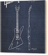Mccarty Gibson Electrical Guitar Patent Drawing From 1958 - Navy Blue Wood Print