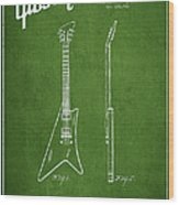 Mccarty Gibson Stringed Instrument Patent Drawing From 1958 - Green Wood Print by Aged Pixel