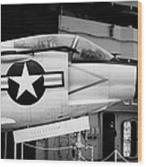 Mcdonnell F3h2n F3b F3 Demon On The Flight Deck On Display At The Intrepid Sea Air Space Museum Wood Print
