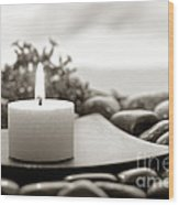 Meditation Candle Wood Print