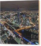 Melbourne At Night Vi Wood Print