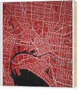 Melbourne Street Map - Melbourne Australia Road Map Art On Color Wood Print