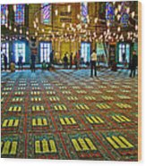 Men Inside The Blue Mosque In Istanbul-turkey Wood Print