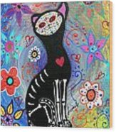 Meow II Day Of The Dead Wood Print