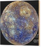 Mercury Hemisphere, Messenger Image Wood Print