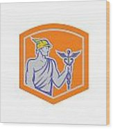Mercury Holding Caduceus Staff Shield Retro Wood Print