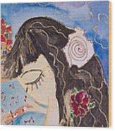 Mermaid Playing Magic Flute In Old Jaffa - Detail Wood Print