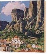 Meteora Greece Wood Print