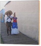 Mexican Revolutionary Re-enactor With His  Lady Helldorado Days Tombstone Arizona 2004 Wood Print