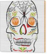 Mexican Sugar Skull For Dia De Los Muertos Wood Print