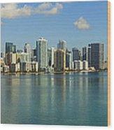 Miami Brickell Skyline Wood Print