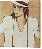 Michael Jackson Original Coffee Painting Wood Print